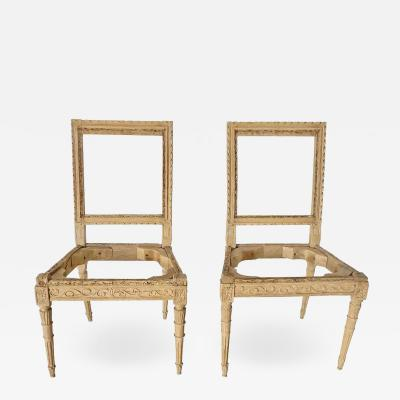 Pair of Louis XVI Italian Side Chairs Stripped and Waxed Fruitwood
