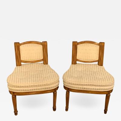 Pair of Louis XVI Slipper Chairs Having Cushions in Hollywood Regency Manner
