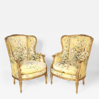 Pair of Louis XVI Style Gilt Wood Bergeres