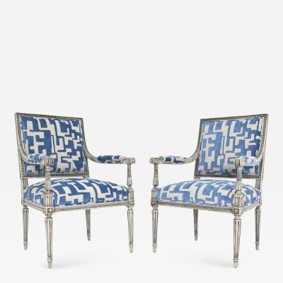 Pair of Louis XVI Style Lounge Chairs in Blue Taupe