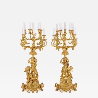 Pair of Louis XVI gilt bronze candelabra