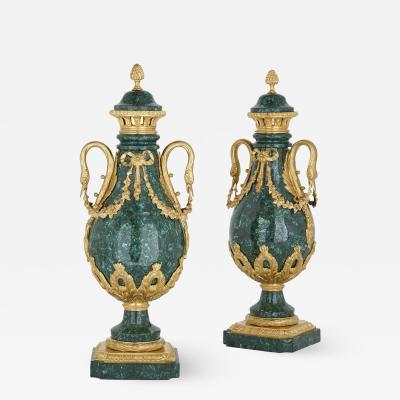 Pair of Louis XVI style gilt bronze mounted malachite swan handle vases