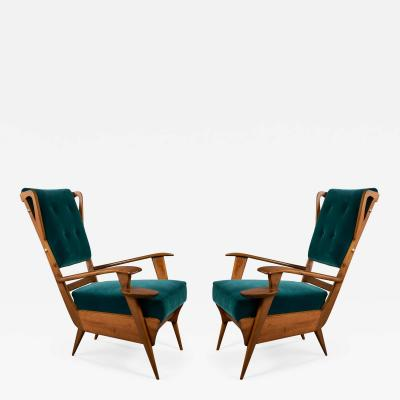 Pair of Lounge Armchairs Italy 1950s