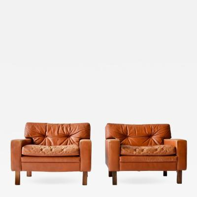 Pair of Low and Wide Danish Leather Lounge Chairs