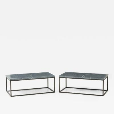 Pair of Lucca Co Cocktail Tables with Soapstone Tops