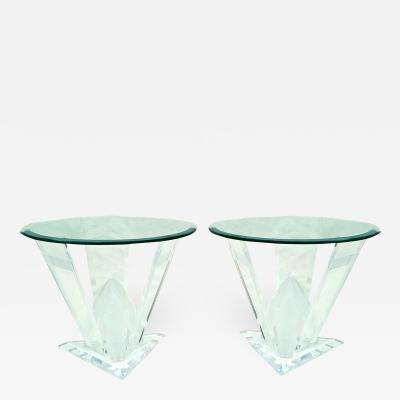 Pair of Lucite Glacier Iceberg Sculptural End Side Tables Glass Top