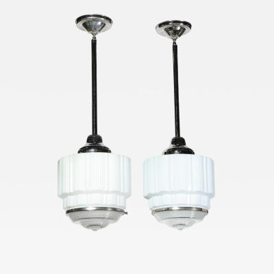 Pair of Machine Age Art Deco Skyscraper Milk Glass Pendants with Nickel Fittings