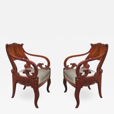 Pair of Mahogany Empire Armchairs
