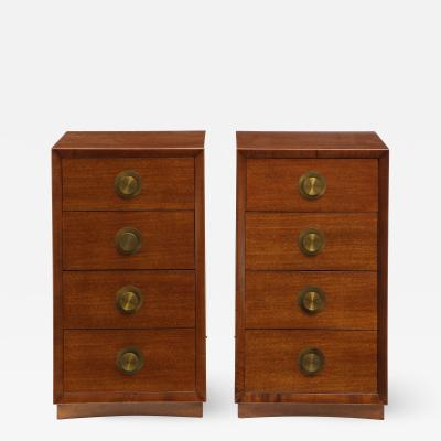 Pair of Mahogany Four drawer Nightstands