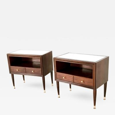 Pair of Mahogany Nightstands Cant Italy 1950s