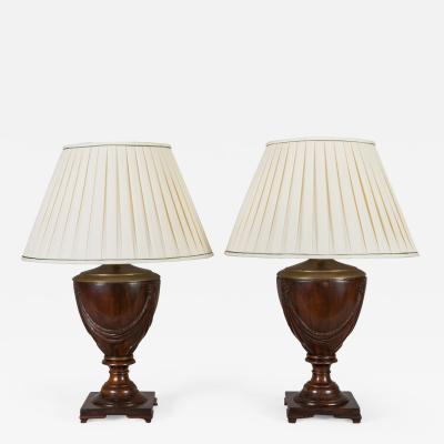 Pair of Mahogany Urn Shaped Lamps