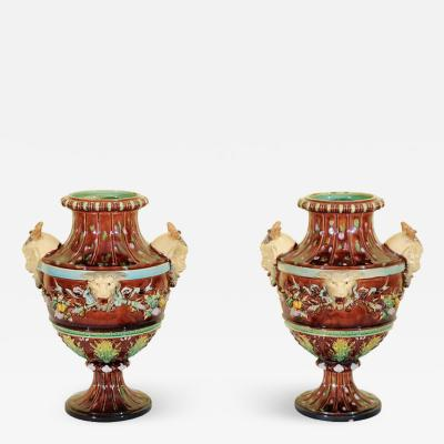 Pair of Majolica Urns