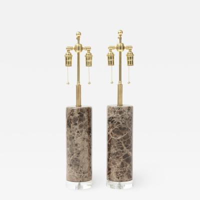 Pair of Marble Lamps on Lucite Bases