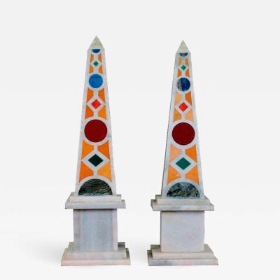 Pair of Marble Obelisks with Italian Pietre Dure Malachite and Lapis Mosaic