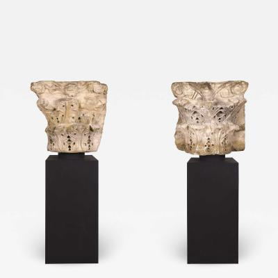 Pair of Marble Roman Capitals 2nd Century France