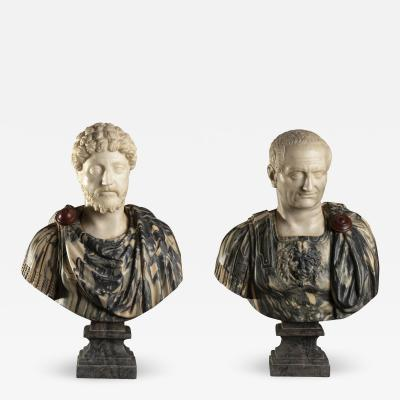 Pair of Marble Sculpture Busts of Roman Emperors Grand Tour