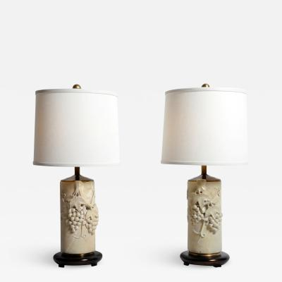 Pair of Marble Stone Lamps