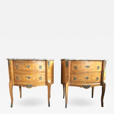 Pair of Marble Top Louis XV Style Oval Inlaid Commodes Nightstands or Chests