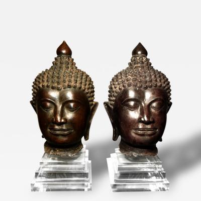 Pair of Massive Antique Bronze Buddha Head Thai Lana Kingdom