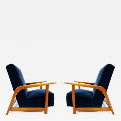 Pair of Massive Italian Lobby Armchairs