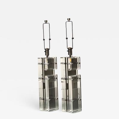 Pair of Massive Italian Lucite and Metal Table Lamps 1970s