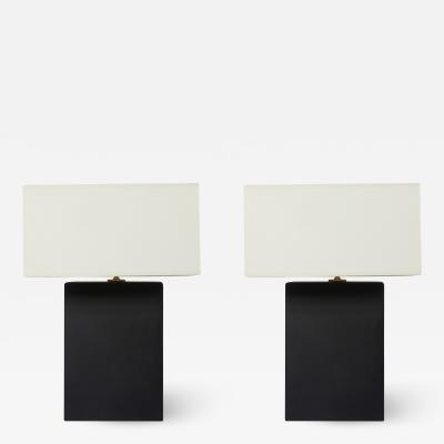Pair of Mat Black Rectangle Table Lamps