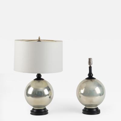 Pair of Mercury Glass Globular Lamps