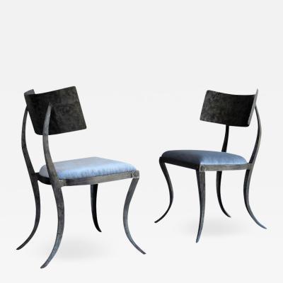 Pair of Metal Klismos Chairs by Ched Bergeron