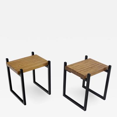 Pair of Metal Staved Oak Artisan Side Tables