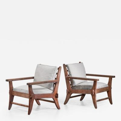 Pair of Mexican Modernist pine armchairs