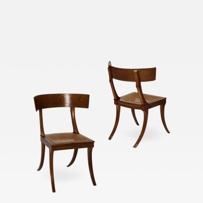 Pair of Mid 19th Century Danish Neo Antique Klismos Chairs in Oak