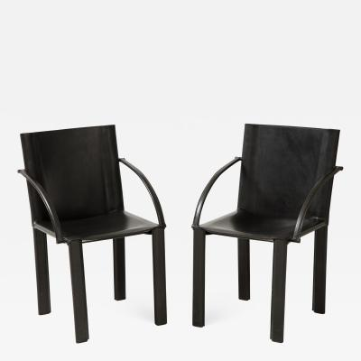 Pair of Mid 20th Century Black Leather Open Arm Chairs