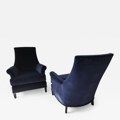 Pair of Mid Cdntury Modern armchairs with black lacquered legs