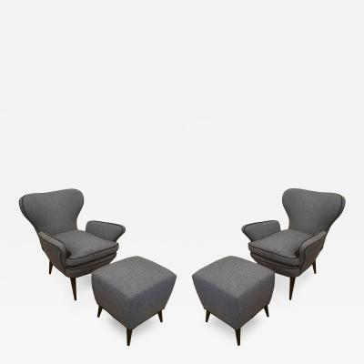 Pair of Mid Century Armchairs with Foot Stools