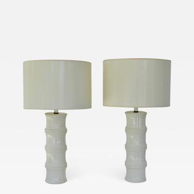 Pair of Mid Century Blanc de Chine Bamboo Form Table Lamps