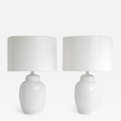 Pair of Mid Century Blanc de Chine Ginger Jar Form Table Lamps