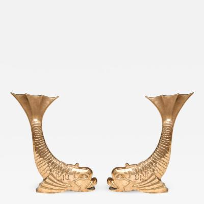 Pair of Mid Century Brass Dolphin Form Andirons