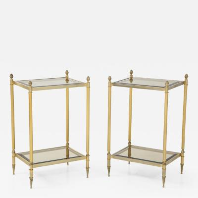 Pair of Mid Century Brass Glass End Tables