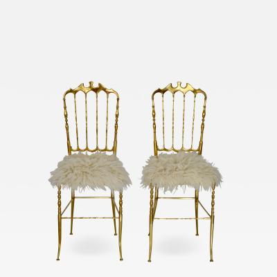 Pair of Mid Century Brass Side Chairs