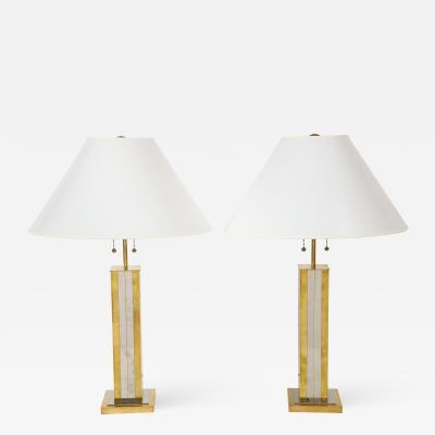 Pair of Mid Century Brass Table Lamps