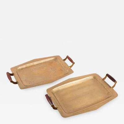 Pair of Mid Century Brass Trays with Rosewood Handles