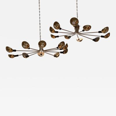 Pair of Mid Century Ceiling Mounted Chandeliers Italy circa 1955