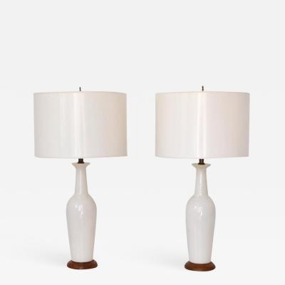 Pair of Mid Century Crackle Glazed Ceramic Bottle Form Table Lamps