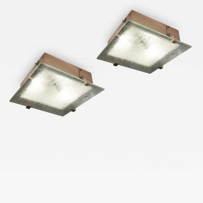 Pair of Mid Century Flush Mounts with Etched Glass