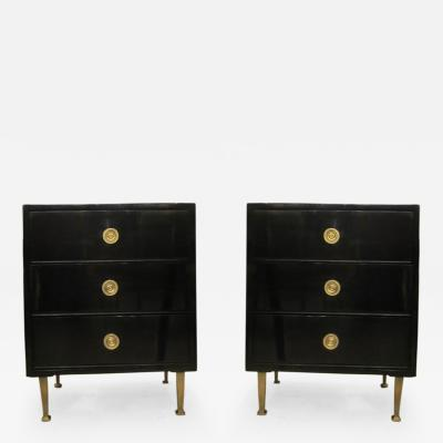 Pair of Mid Century Lacquered Nightstands in the Neoclassic Manner