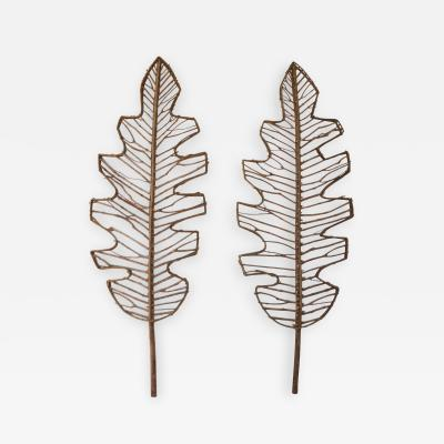 Pair of Mid Century Leaf Form Wall Sculptures