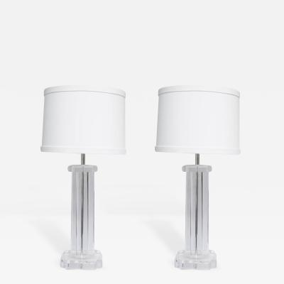 Pair of Mid Century Lucite Lamps