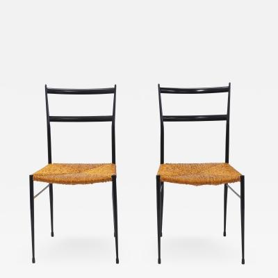 Pair of Mid Century Metal Superleggera Chairs Attributed to Gio Ponti