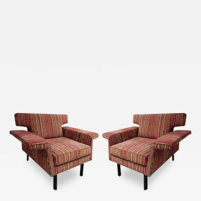 Pair of Mid Century Modern Arm Chairs with Striped Upholstery