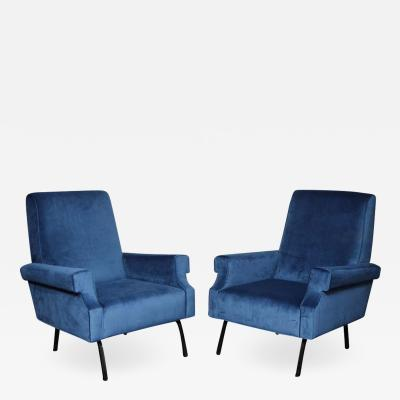 Pair of Mid Century Modern Blue Velvet Chairs with Black Iron Legs
